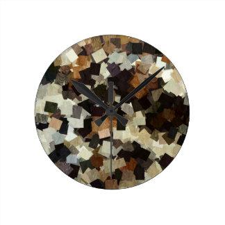 Leopard Style Brown Black Square Pattern Clocks