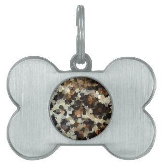 Leopard Style Brown Black Square Pattern Pet Tag