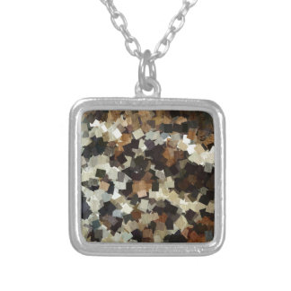 Leopard Style Brown Black Square Pattern Silver Plated Necklace
