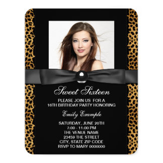 "Leopard Sweet 16 Birthday 4.25"" X 5.5"" Invitation Card"