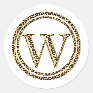 Leopard W Classic Round Sticker