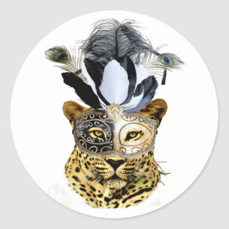 Leopard Wearing Fancy Mask and Peacock Feathers Classic Round Sticker