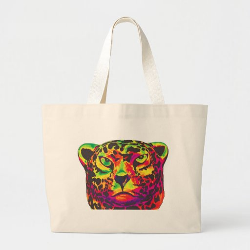 Leopard - White Back, Rainbow Style Canvas Bags