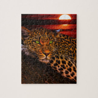 Leopard with Sunset Jigsaw Puzzle