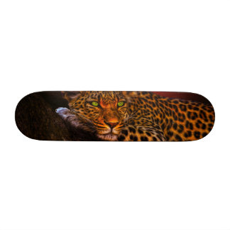Leopard with Sunset Skate Board Deck