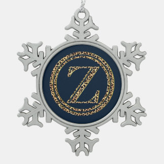 Leopard Z Pewter Snowflake Ornament