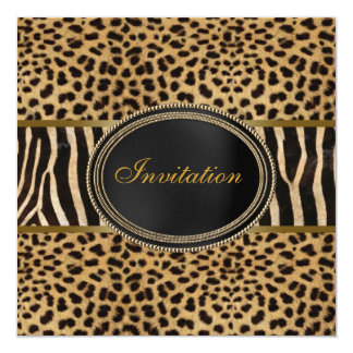 Leopard Zebra Party Card