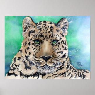 Leopard's Blue Glare Poster