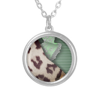 Leopards 'n Lace - green - Silver Plated Necklace