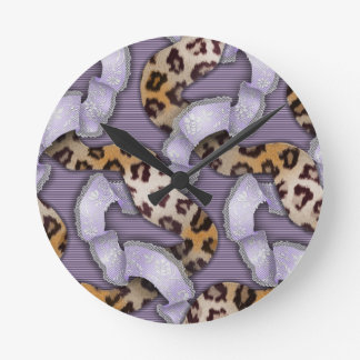 Leopards 'n Lace - purple - Round Clock