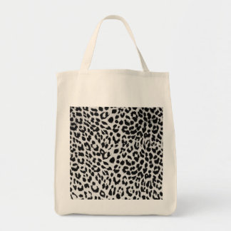 Leopard's texture (black & white) grocery tote bag