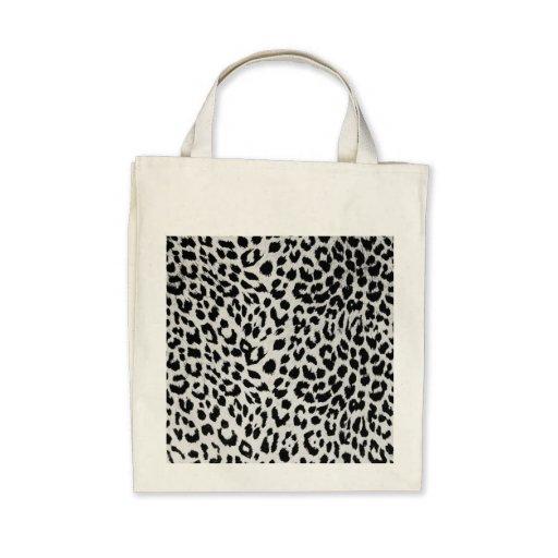 Leopard's texture (black & white) canvas bag