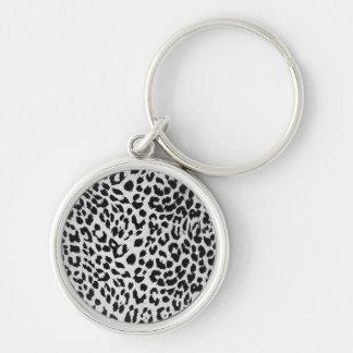 Leopard's texture (black & white) keychain