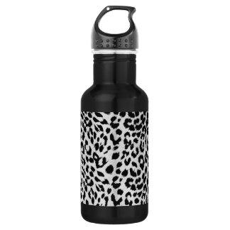 Leopard's texture (black & white) 18oz water bottle
