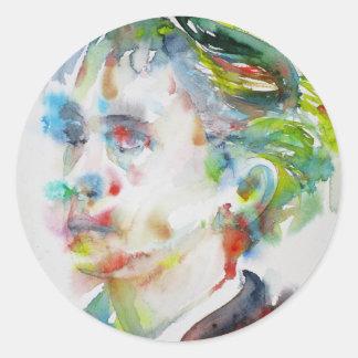 leopold von sacher masoch - watercolor portrait classic round sticker
