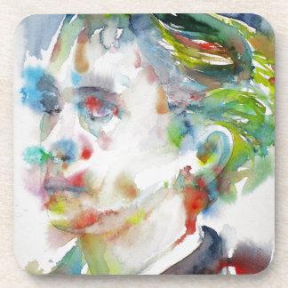 leopold von sacher masoch - watercolor portrait coaster