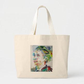 leopold von sacher masoch - watercolor portrait large tote bag