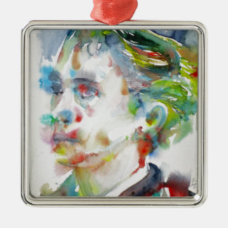 leopold von sacher masoch - watercolor portrait metal ornament