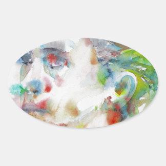 leopold von sacher masoch - watercolor portrait oval sticker