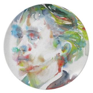 leopold von sacher masoch - watercolor portrait plate
