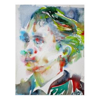 leopold von sacher masoch - watercolor portrait postcard