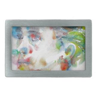 leopold von sacher masoch - watercolor portrait rectangular belt buckle