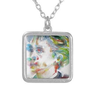 leopold von sacher masoch - watercolor portrait silver plated necklace