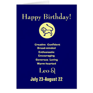 Leo's birthday - horoscope card
