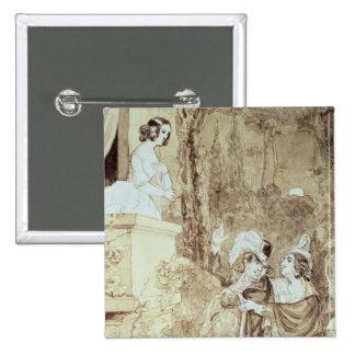 Leporello serenading Elvira in guise Giovanni Pinback Buttons
