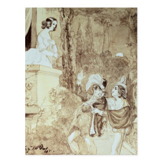 Leporello serenading Elvira in guise Giovanni Postcard