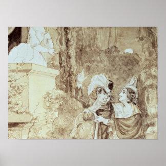 Leporello serenading Elvira in guise Giovanni Poster