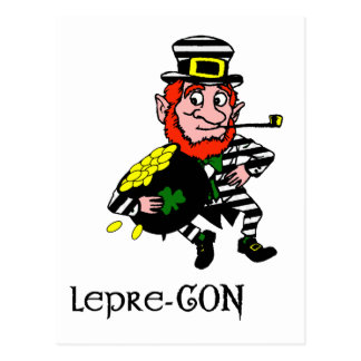 Lepre-con Leprechaun Stealing Pot of Gold Postcard