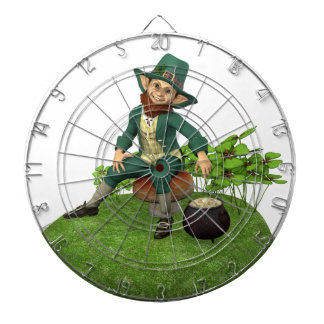 Leprechaun and His Gold Dartboard With Darts