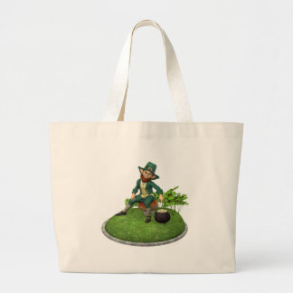 Leprechaun and His Gold Large Tote Bag