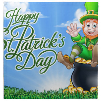 Leprechaun and Pot of Gold St Patricks Day Sign Napkin