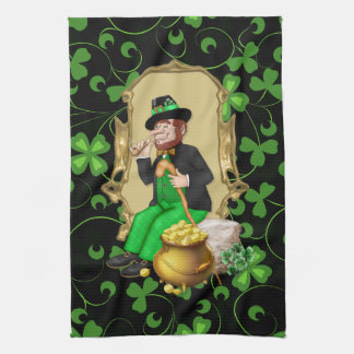 Leprechaun and Shamrocks Kitchen Towel