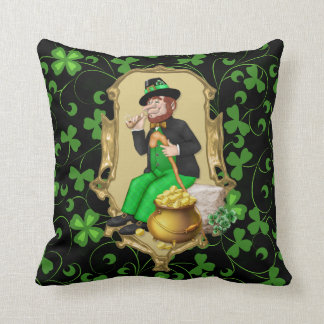 Leprechaun and Shamrocks Throw Pillow
