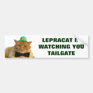 Leprechaun Cat Is Watching You Tailgate Bumper Sticker