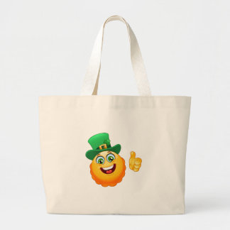 leprechaun emoji large tote bag