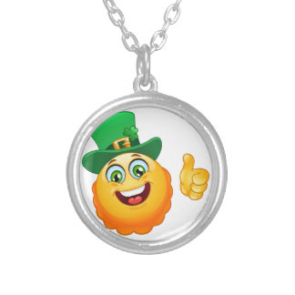 leprechaun emoji silver plated necklace