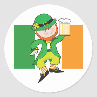 Leprechaun Flag Classic Round Sticker