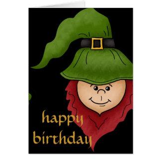 Leprechaun Happy March Birthday Card