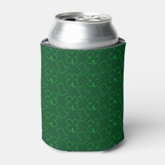 Leprechaun Hat and Clover Pattern Can Cooler