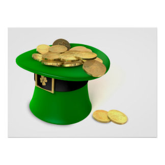 Leprechaun Hat filled with gold Poster