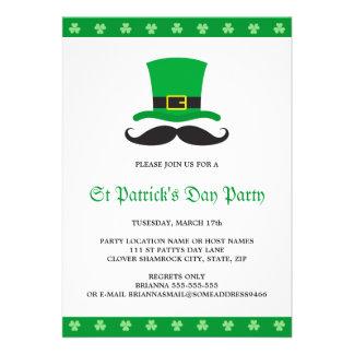 Leprechaun hat mustache St Patrick's day party Custom Invites