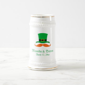 Leprechaun hat mustache St Patrick's day wedding Beer Stein