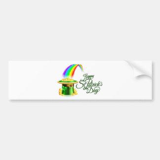 Leprechaun Hat Rainbow Happy St Patricks Day Sign Bumper Sticker