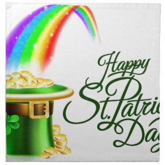 Leprechaun Hat Rainbow Happy St Patricks Day Sign Napkin
