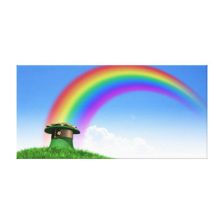 Leprechaun Hat With Gold On A Grassy Hill Canvas Print