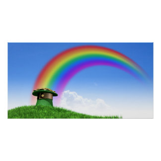 Leprechaun Hat With Gold On A Grassy Hill Poster